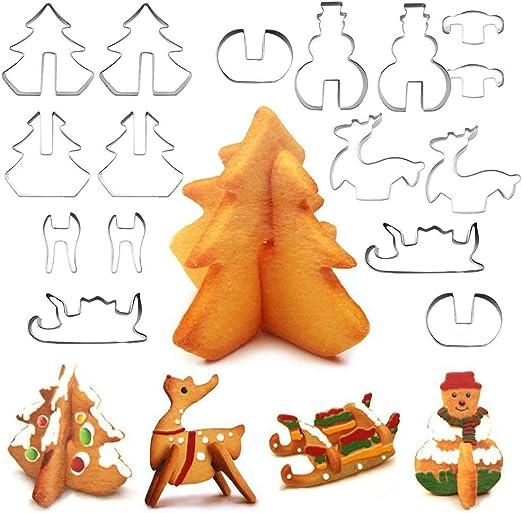3D Navidad escenario Cookie Cutter Conjunto de herramientas de Molde de Muñeco de nieve árbol Galleta Molde Jp