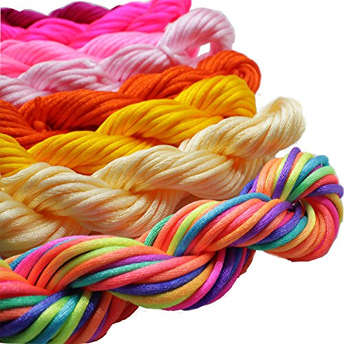 - Pamir Tong Full-Colors 18bundles 180 Yards 2.0mm Satin/Rattail Silk Cord for Necklace Bracelet Beading Cord