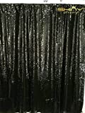 ShinyBeauty Mermaid-Sequin Curtain Backdrop-Black&Silver-9FTX9FT,Sparkyly Sequin Fabric Curtain Backdrop,Perfect for Party/Wedding/Event/Prom/Birthday