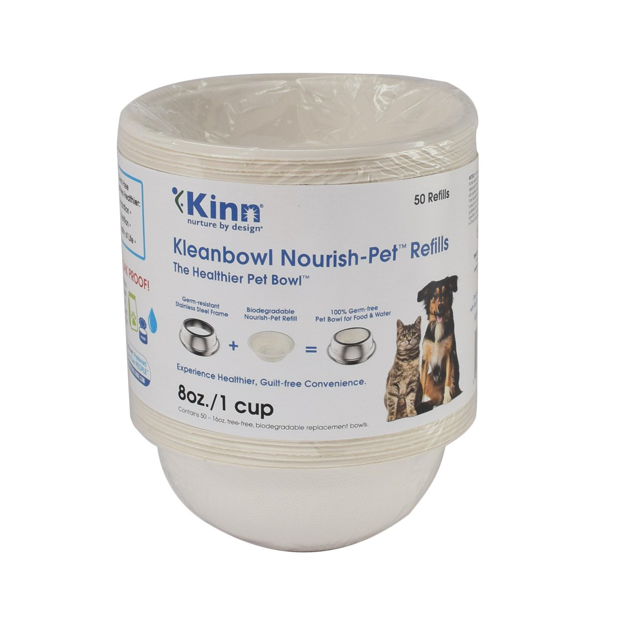 Kinn Kleanbowl Nourish Pet Refill Food & Water Bowls for Dogs & Cats, 8 ounce (1 cup)