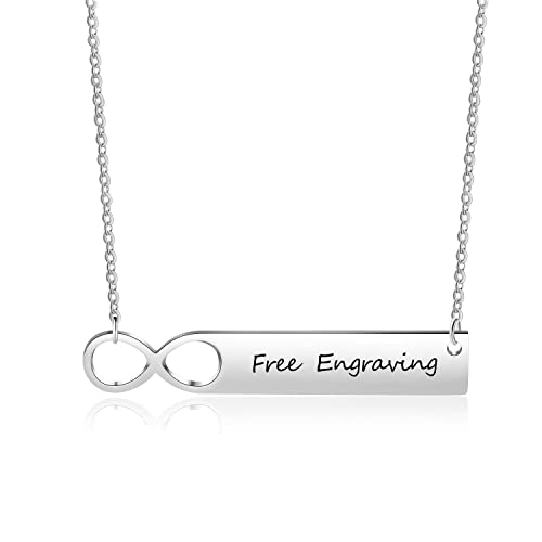 Free Engraving Men Bar Pendant Personalized Custom Engraved Name or Words chain 18 inch Sterling Silver Necklace