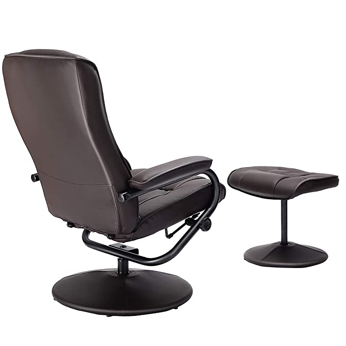 Giantex Recliner Chair 360 Degree Swivel Armchair Modern Lounge Seat With Footrest Stool Ottoman Home Furniture Hw51430bn Furniture