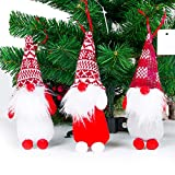 Christmas Tree Ornaments Enthur Handmade Swedish Tomte Plush Decorations, Red, White Gray Santa Gnomes for Holiday Home Ornaments Xmas Hanging Decorations