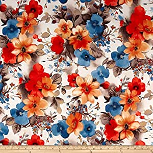 Telio Spring Scuba Knit Floral Print Coral/Blue Fabric By The Yard