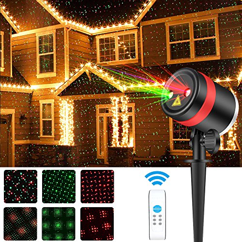 Green Star Projector Laser (Christmas Laser Lights Show Red and Green Star Waterproof Outdoor Laser Projector Light with Remote Control for Christmas, Holiday, Party, Landscape, and Garden Decorations)