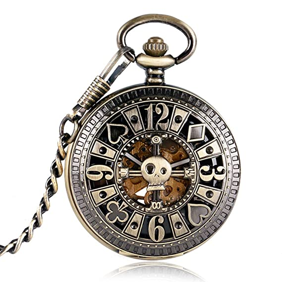 Simple Pocket Watch, Automatic Mechanical Poker Pendant Skull Bronze Pocket Watches for Men, Pocket