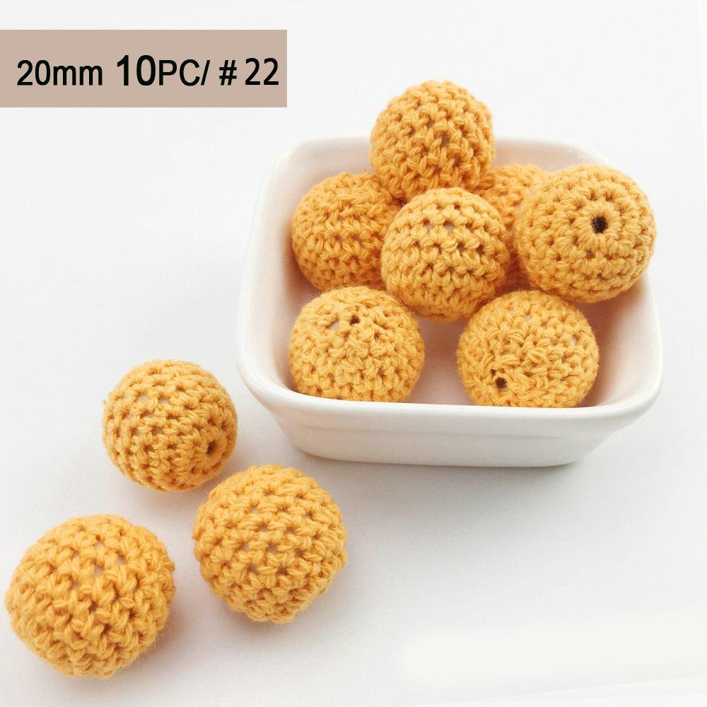 Best for baby En bois Perles au Crochet Naturel Rond 20mm 10PC DIY Bébé Jouets de dentition Accessoires de bijoux infirmiers Collier Bracelet Cadeau