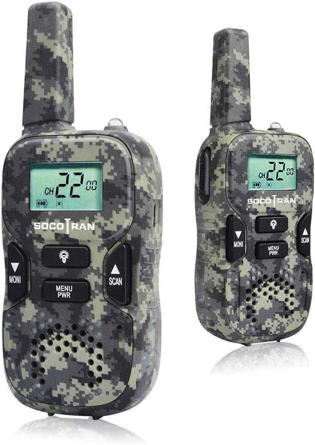 Kids Walkie Talkies, Camouflage Walkie Talkies for Boys, 2 Way Radios Toys, FRS Walkie-Talkies for Outdoor Camping,Rechargeable Kids Walkie Talkies 2 Pack Toys Gifts for Boys Girls Survival Games