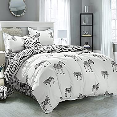 Duvet Cover Set King, 3PC Reversible with Brushed Microfiber, Soft, Comfortable , Lightweight, Durable(zebra, King)