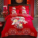 DHWM-Wedding 4 piece set, the red cotton wedding bedding 4 piece set, Cotton Mill hair wedding celebration bed, a ,1.8m