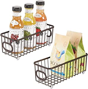 mDesign Metal Farmhouse Kitchen Pantry Food Storage Organizer Basket Bin - Wire Grid Design - for Cabinets, Cupboards, Shelves, Countertops, Closets, Bedroom, Bathroom - Small, 2 Pack - Bronze