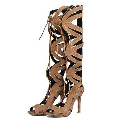 PPFME Femmes Bottes Roman Chaussures Mode Mince Talons Chaussures Open Toe Talons Hauts Sandales Chaussures