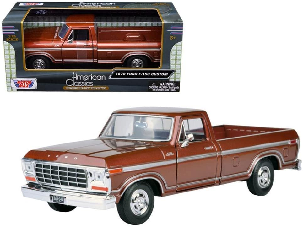 Motormax 1979 Ford F-150 Pickup Brown 1:24 Scale Diecast Truck