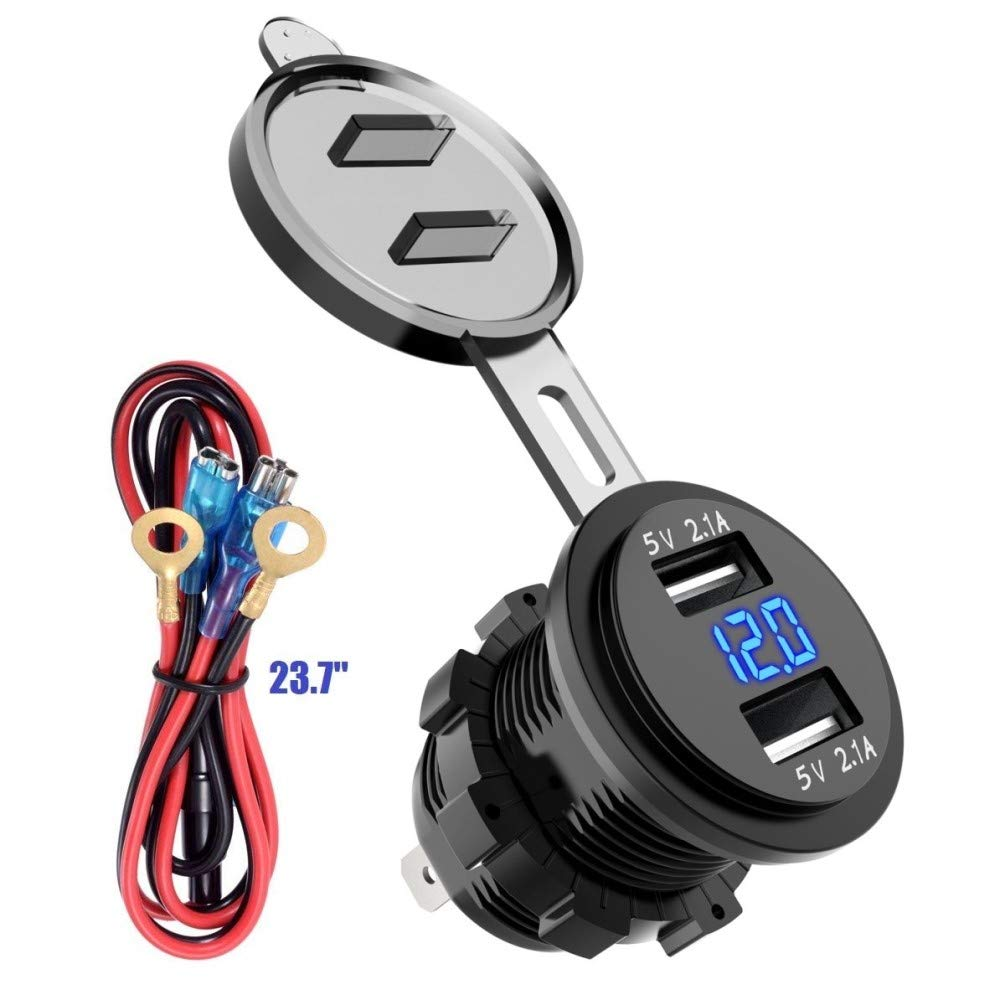 Dual USB Charger Socket Power Outlet 3.1A-Red 1A /& 2.1A for Car Boat Marine Mobile with Wire Fuse DIY Kit soyond