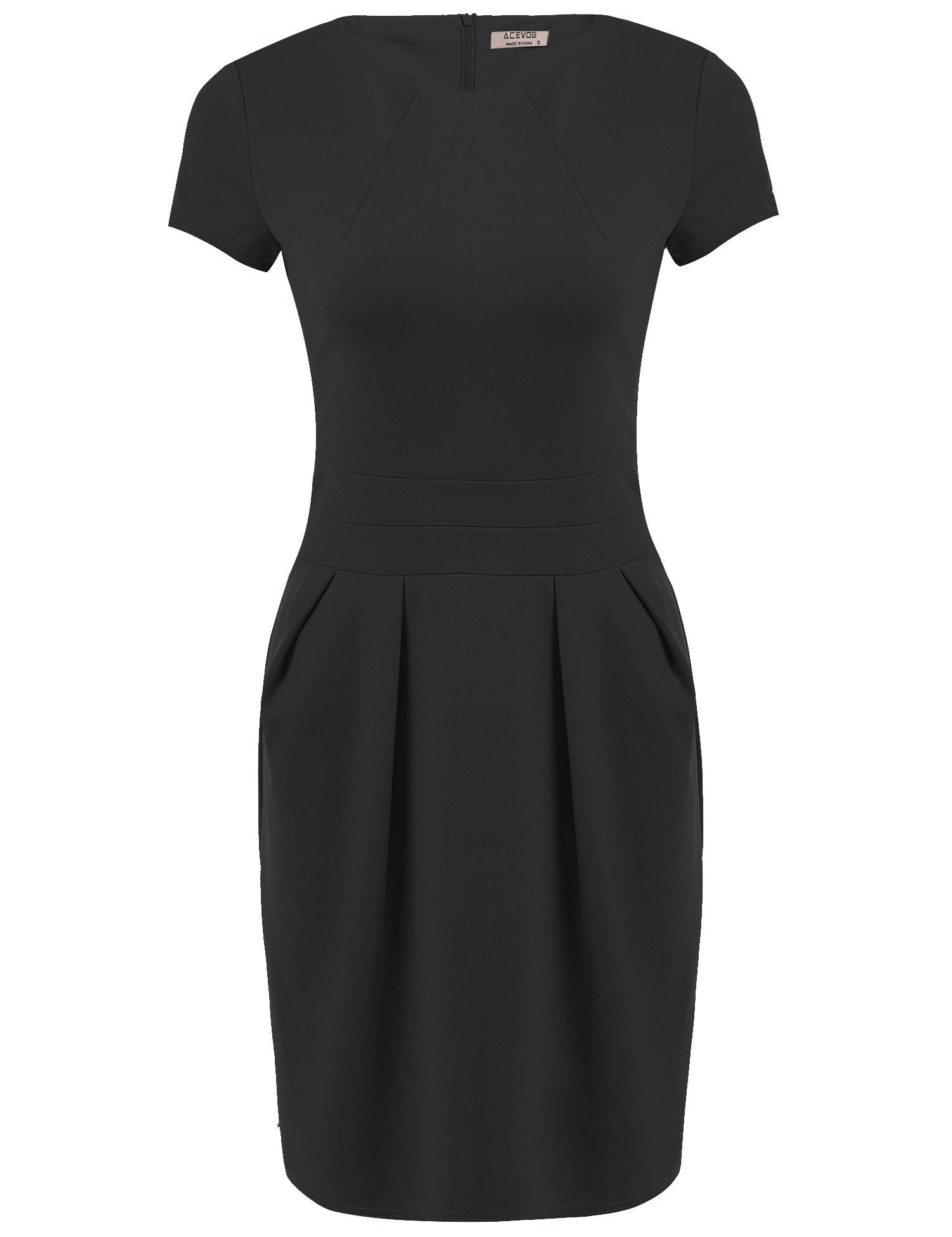 ACEVOG Women's Classic High Short Sleeve Work To Wear Pencil Office Dresses (Medium, Black)