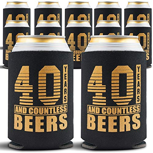 40th Birthday Decorations for Men - 12-Pack Can Coolers - 40th Birthday Gift Ideas Beer Sleeve - 12 Insulated Sleeves Turning 40 Party - 40th Birthday Gifts Men or for -