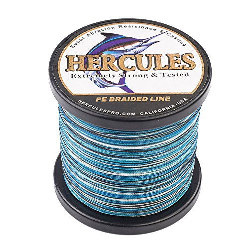 Wire 30 Yard Spool - HERCULES Super Strong 1000M 1094 Yards Braided Fishing Line 30 LB Test for Saltwater Freshwater PE Braid Fish Lines 4 Strands - Blue Camo, 30LB (13.6KG), 0.28MM