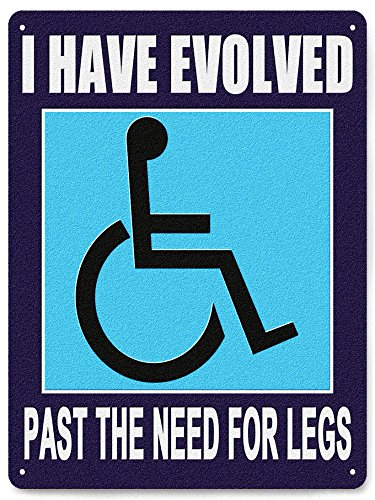 DISABLED metal sign WHEELCHAIR INSPERATIONAL humor funny pla