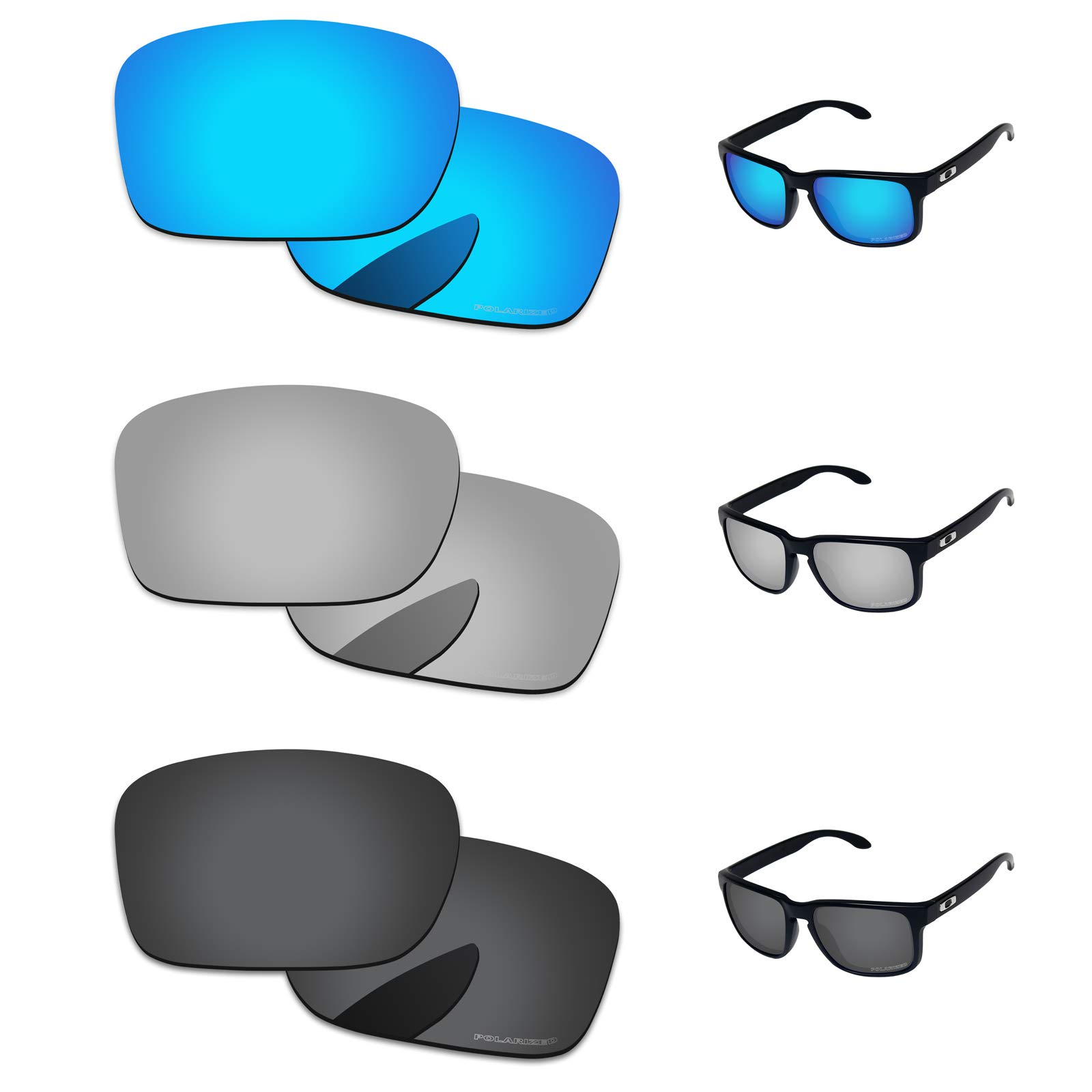 0f312eed36 PapaViva Lenses Replacement for Oakley Holbrook Black Grey   Chrome Silver    Ice Blue