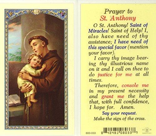 - WJ Hirten E24-300 Prayer to Saint Anthony, Clear Holy Cards