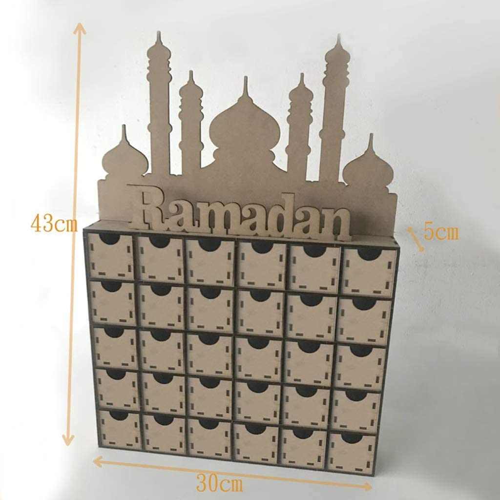 Ludzzi Holz MDF Eid Ramadan Mubarak Adventskalender Muslim Islamische Dekoration Ornament Geschenk f/ür den heimlichen Gebrauch