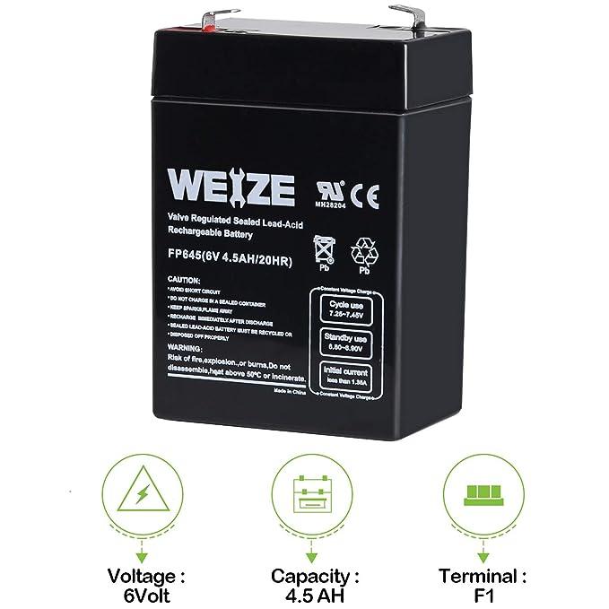 6 Volt 4.5 Ah Sealed Lead Acid Rechargeable Battery SLA-6V4-5 F1 Terminal
