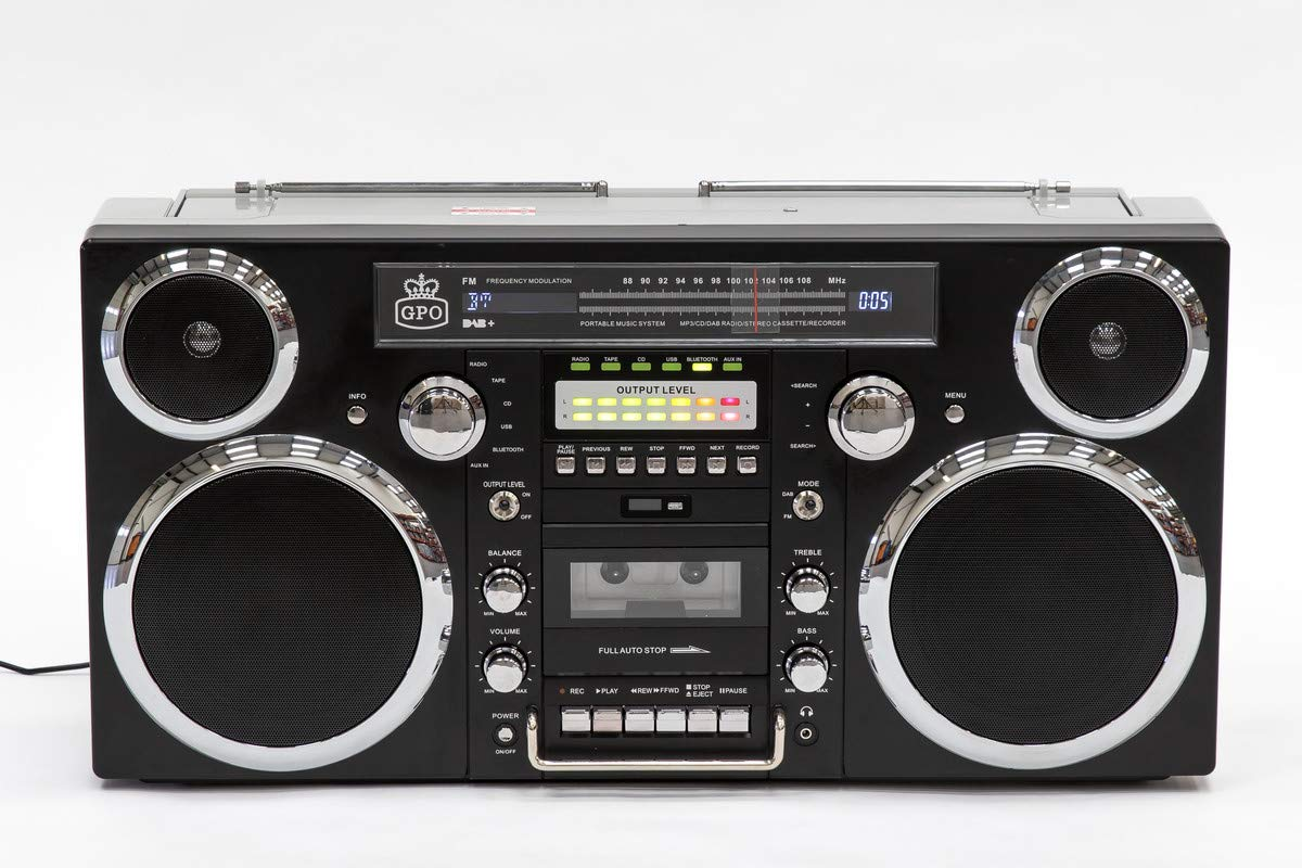 GPO Brooklyn Boombox Portable 1980s Retro Style Music System with CD/Cassette/DAB Radio and Bluetooth - Black