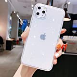 iPhone 11 Case Bling,Anynve Clear Glitter Sparkle Case for Women [Air Cushion Anti-Shock Matte Edge Bumper Design] Cute Slim Soft Silicone Gel Phone Case Compatible for Apple iPhone 11 6.1''-Clear