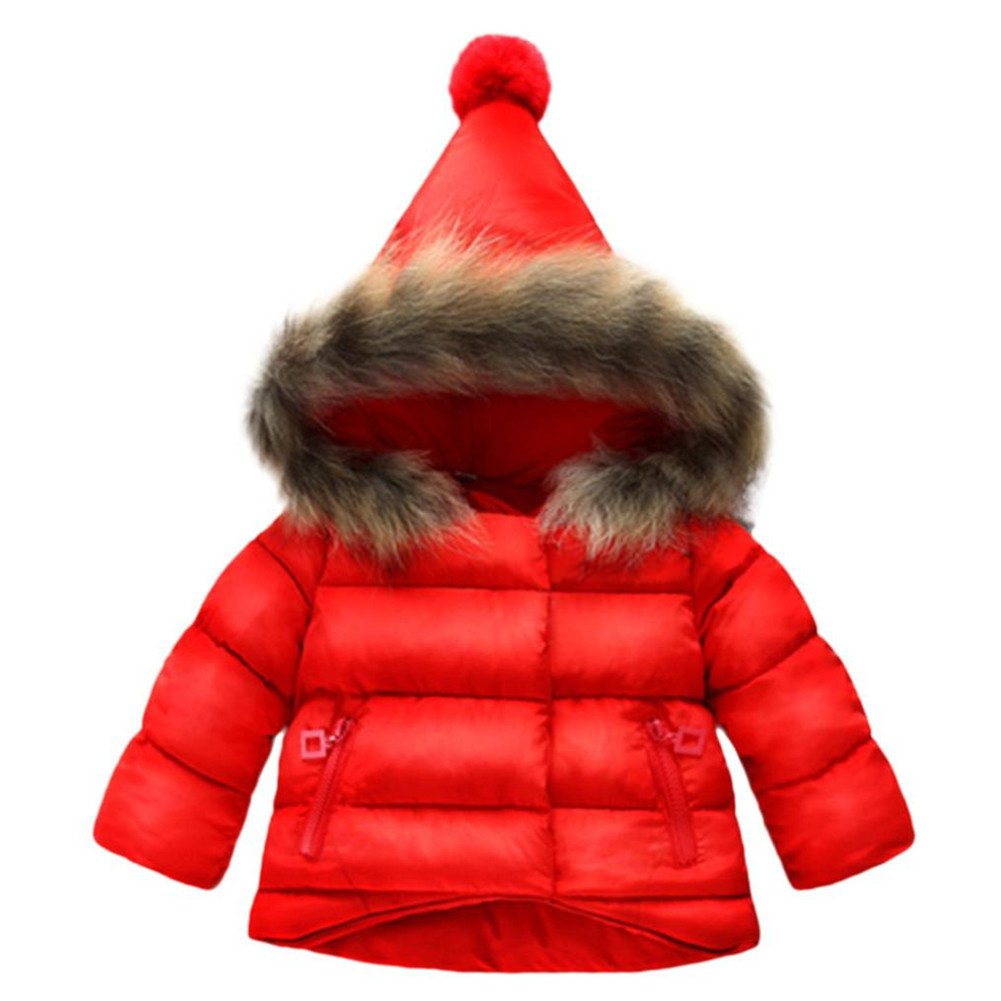 Baby Down Jacket,LandFox Girls Boys Winter Warm Coat with Big Hat (3T, Red)