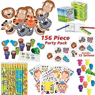 144 Piece Jungle Theme Party Supplies for 12 Kids | Zoo Animal Party Favors, Safari Birthday Pack | Everything You Need: Party Favors, Games, Toys for Boys and Girls: Toys & Games
