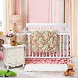Brandream Paisley Baby Bedding Set-Luxurious Pink Crib Bedding Set,100% Egyptian Cotton Soft Paisley Nursery Bedding, Durable Breathable & Hypoallergenic,1200TC,8Pieces