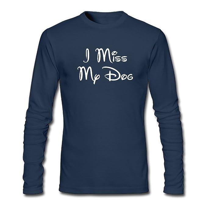 8e2295b3d0ac Amazon.com: ZJING Men's I Miss My Dog Long Sleeve T-Shirt: Clothing