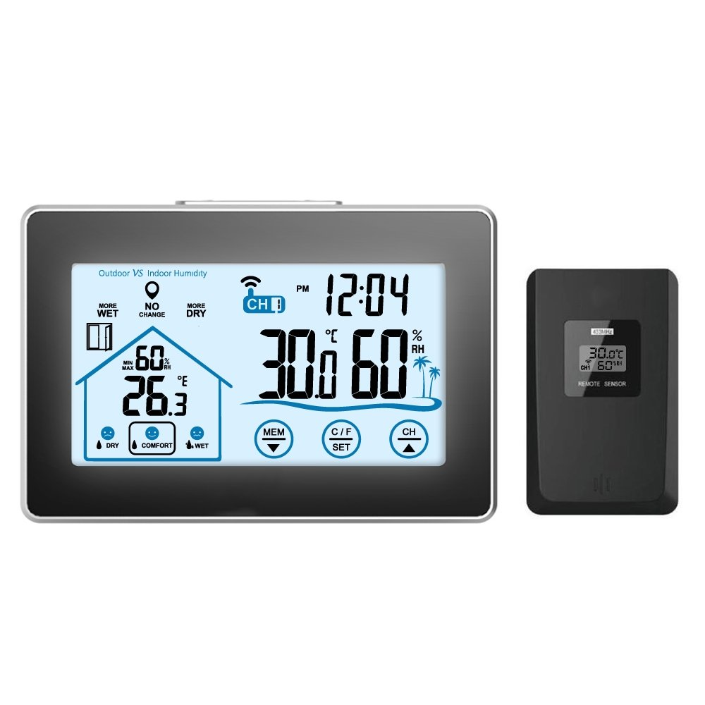 GAOAG Digital Wireless Hygrometer - Touch Screen Thermometer Wireless Temperature Indoor Outdoor Temperature Hygrometer LED Backlight