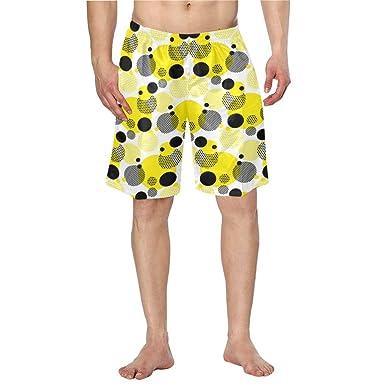 c9b0d5bd3b Amazon.com: Men Swim Trunks Quick Dry Yellow Black Polka Dots Pockets Beach Board  Shorts: Clothing