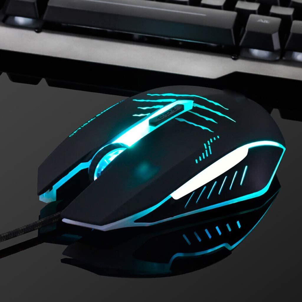 Glare Wired Keyboard and Mouse Set,Suspension Keycaps Mechanical Feel Metal Adjustable Backlit Office Home Esports Game Membrane Keyboard+Gaming Mouse