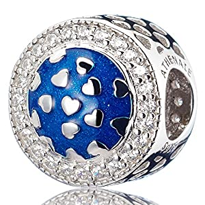 ATHENAIE925Sterling Silver ClearCZ Blue Radiant Hearts Enamel Openwork Charm
