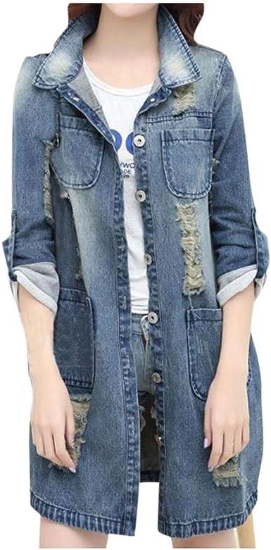 Sylar Chaquetas Vaqueras De Mujer Largas Tallas Grandes Moda Chaqueta Vaquera Rotos Manga Larga Jacket Mujer Suelto Chaqueta Mujer Fiesta Chaqueta De Mezclilla con Bolsillos Abrigos para Mujer: Amazon.es: Ropa y accesorios