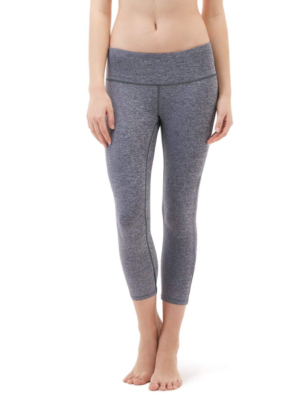 Heather Grey Medium DREAM SLIM Women High Waisted Yoga Pants Running Workout Legging Hidden Pocket, Non See-Through K500