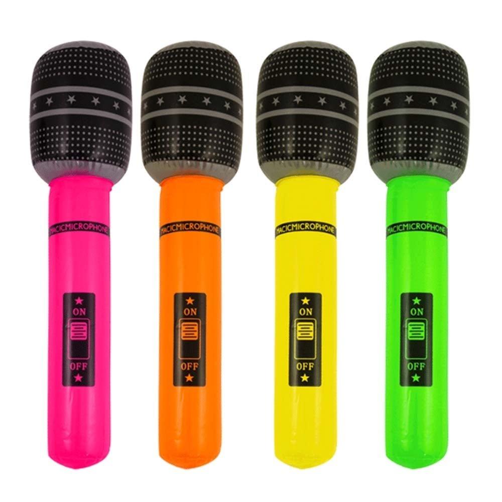 1 aufblasbares Mikrofon 40cm f/ür Kinder gemischte Farben
