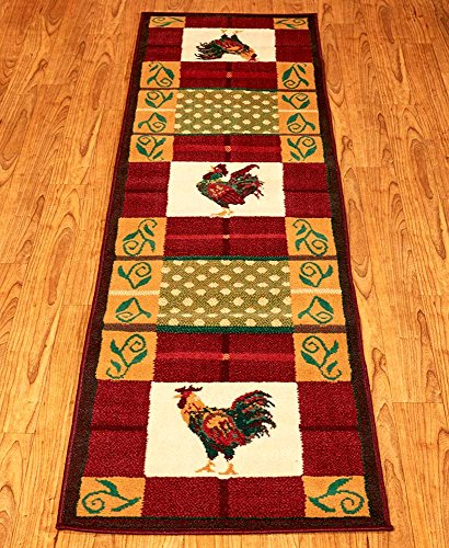 Modern Country Rooster Rug Collection-Protect Floors in High-Traffic Areas-Perfect for Living Room, Kitchen or Dining Room Use-Multiple Colors Available (Runner)