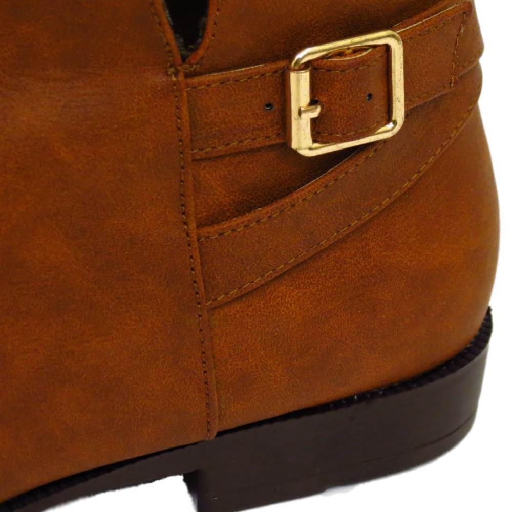 cf0e6091195d Ladies Flat Tan Ex-Evans EEE Wide-Fit Biker Pixie Zip Ankle Boots Shoes  Sizes 4-10  Amazon.co.uk  Shoes   Bags