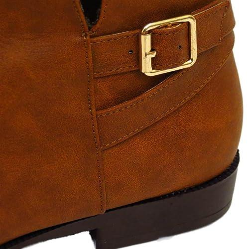 Mujer Plano Tostado Ex-Evans EEE ajuste de ancho Motero Duende Botines Postales Zapatos Número 4-10 - Marrón, 42 EU 3E: Amazon.es: Zapatos y complementos