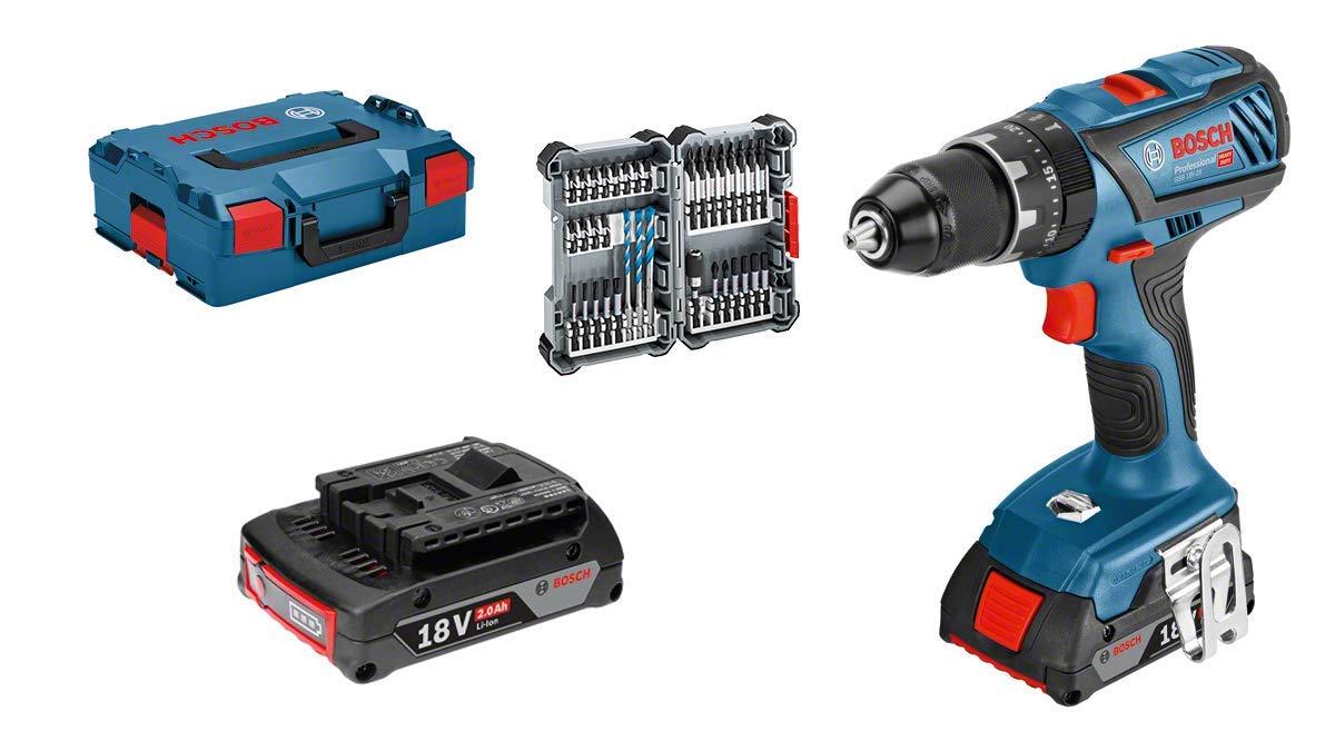 Bosch Professional GSB 18V-28 - Taladro percutor a batería (2 baterías x 2,0 Ah, 18V, set 35 accesorios, en L-BOXX)