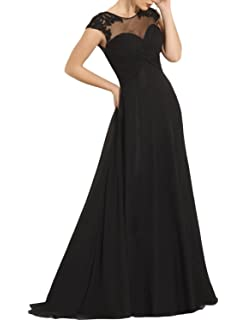 SeasonsMall Womens A Line Scoop Cap Sleeves Prom Dresses