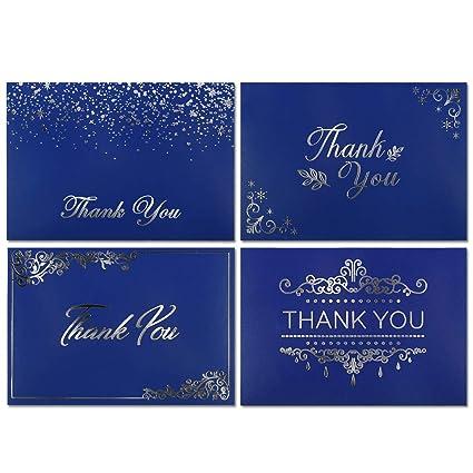 Amazon Com 36 Thank You Cards Bulk Thank You Notes Blue Gold