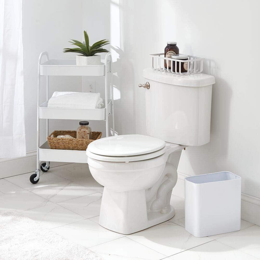 mDesign corbeille de rangement en m/étal panier de rangement en m/étal au joli design grillag/é blanc cuisine la salle de bain panier m/étallique id/éal pour le bureau etc lot de 2