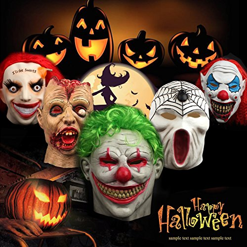Halloween Clown Mask Scary Vampire Funny Latex Masquerade Costumes Cosplay Party Decoration Props Overhead Masks With Green (Halloween Costumes Scary Clown Mask)