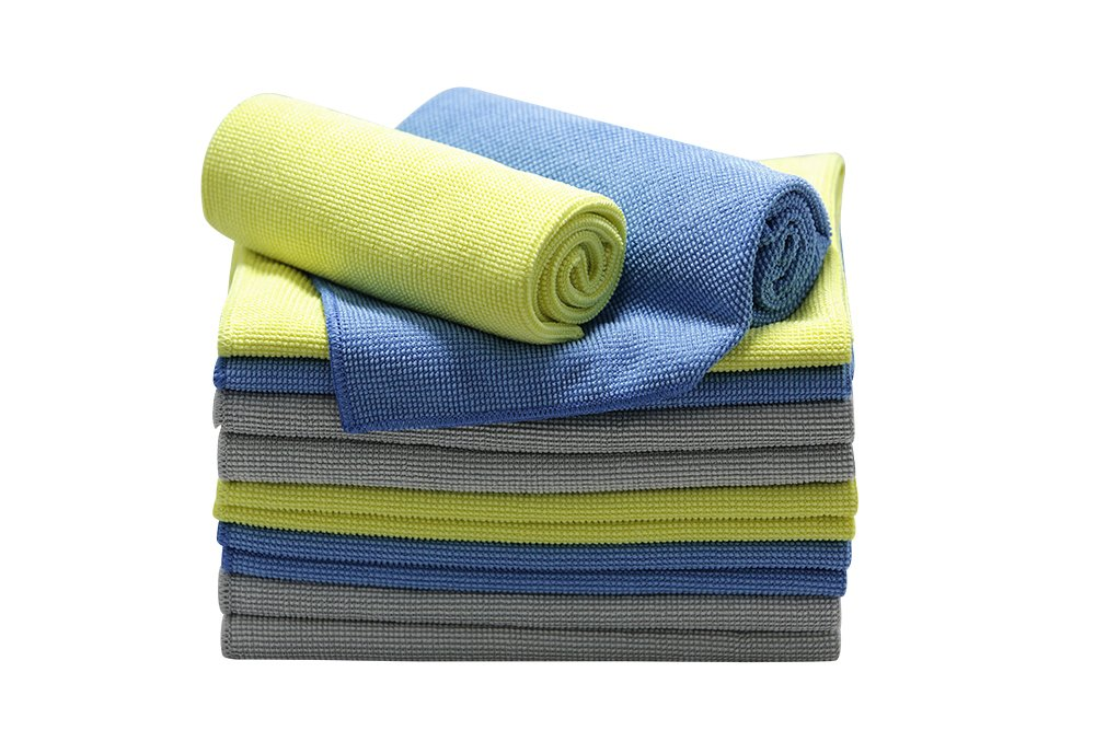 Silver Star High Performance Cleaning Microfiber Cloth for Home (Blue/Yellow/Grey, 16'' x 16'', 12Pack)