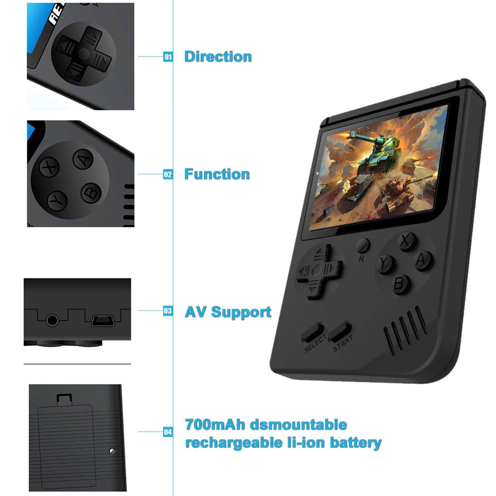 Hangyuan Retro Handheld Classic Game Console F-C System Plus Extra Joystick Video Game Consoles Built-in 168 Classic Games by Hangyuan (Image #3)