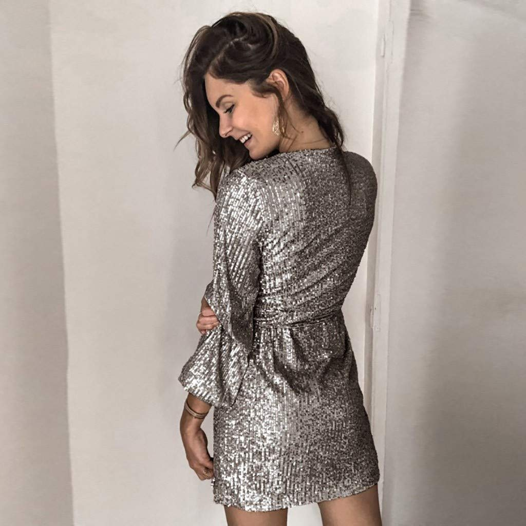 Smileyth Women Sequin Party Dress Fashion Glitter Solid Deep V Neck Wrap Long Sleeve Lace Up Nightclub Cocktail Mini Gown Dress